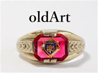 ビンテージ40'sKofC コロンブス騎士会繊細彫刻STERLINGシルバー製リング指輪25号【M-10260】