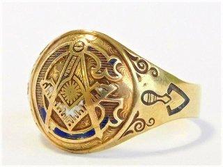 アンティーク1920年代OSTBY&BARTON社製フリーメイソン10金無垢アールデコ彫刻リング指輪23.5号10Kゴールド【M-10236】