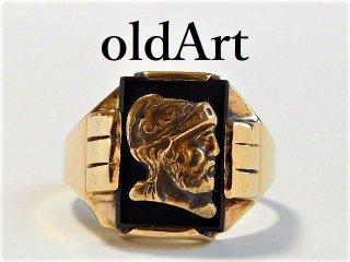 ヴィンテージ騎士彫刻10金無垢ゴールドメンズリング指輪/19.5号【M-10315】【送料無料】