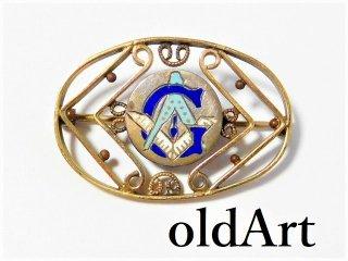 貴重アンティーク1880-1910sフリーメイソン繊細彫刻ブローチピンバッジ【M-10432】