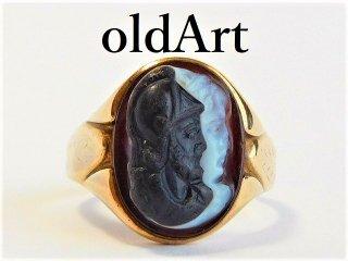 貴重1942年ヴィンテージ騎士カメオ彫刻10金無垢リング指輪20号10Kゴールド【M-10422】