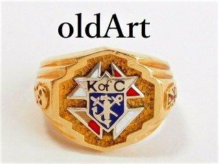 貴重ビンテージKofCコロンブス騎士会スカル重厚14金無垢リング指輪23号14Kゴールド【M-10425】