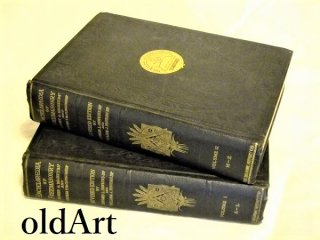 アンティーク1920'sフリーメイソン百科辞典古書2冊セット【M-10483】【送料無料】
