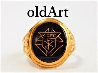 貴重ビンテージKofCコロンブス騎士会10金無垢リング指輪18号10Kゴールド【M-10477】