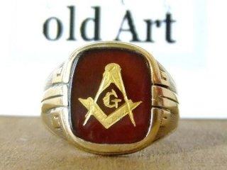 貴重ビンテージ1950'sフリーメイソン本物の10金無垢茶褐色ストーンメンズリング指輪21号10Kゴールド【M-10492】