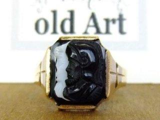 貴重1940'sヴィンテージ騎士カメオ彫刻10金無垢リング指輪23号10Kゴールド【M-10632】