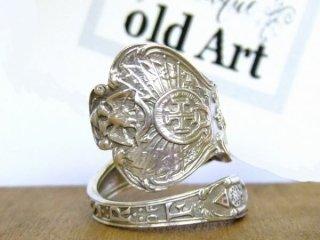アンティーク1900年代フリーメイソン繊細彫刻シルバー製スプーンリング指輪16号【M-10641】