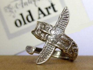 ヴィンテージインディアントーテムポール繊細彫刻シルバー製スプーンリング指輪15号【M-10646】