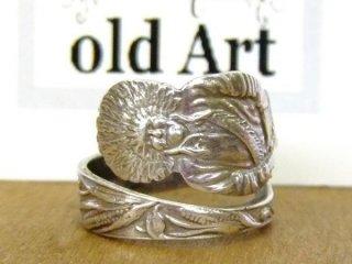 アンティークヴィンテージインディアン繊細彫刻シルバー製スプーンリング指輪14号【M-10647】