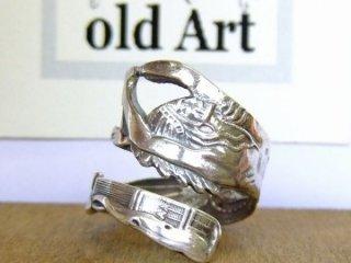 アンティークヴィンテージインディアン繊細彫刻シルバー製スプーンリング指輪16号【M-10649】