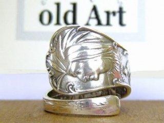 アンティークヴィンテージインディアン繊細彫刻シルバー製スプーンリング指輪16号【M-10652】
