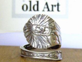 アンティークヴィンテージインディアン繊細彫刻シルバー製スプーンリング指輪17号【M-10653】