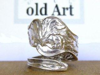 アンティークヴィンテージインディアン繊細彫刻シルバー製スプーンリング指輪18号【M-10655】