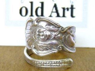 アンティークヴィンテージインディアン繊細彫刻シルバー製スプーンリング指輪16号【M-10656】