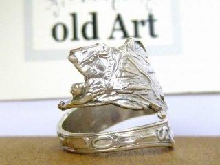アンティークSt.louisセントルイス馬細彫刻シルバー製スプーンリング指輪16号【M-10659】