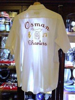 一点物ヴィンテージフリーメイソンシュライナーチェーン刺繍ボーリングシャツ半袖L【M-10691】