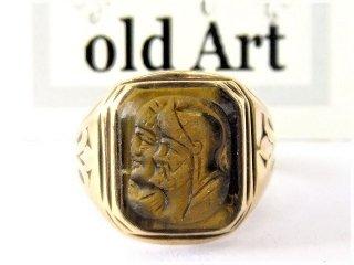 ヴィンテージ40'sカメオ騎士タイガーアイ彫刻10金無垢ゴールドリング指輪21号【M-10744】