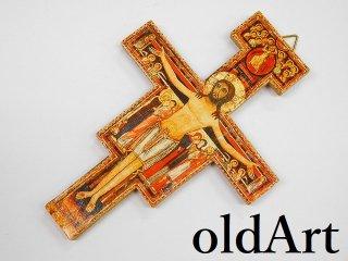 イタリア製イエスキリスト十字架クロスカトリック壁掛けオブジェ置物【M-11047】