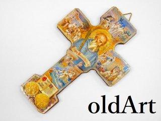 イタリア製イエスキリスト十字架クロスカトリック木製壁掛けオブジェ置物【M-11048】