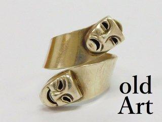 ビンテージ1970年代ツーフェイスMEXICOシルバー製アジャスター式リング指輪ロカビリー 【M-11094】