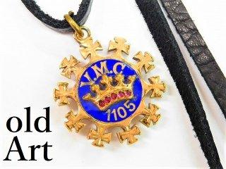 アンティーク1900年代初頭王冠1105七宝焼きフォブ本革ペンダントネックレス【M-11164】