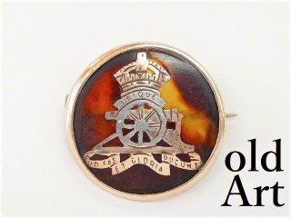 英国製アンティーク1910年代WW1当時物イギリス陸軍アールデコ銀製鼈甲ブローチ【M-11196】