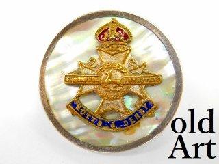 英国製アンティーク1910年代WW1当時物イギリス陸軍アールデコ銀製マザーオブパールブローチ【M-11198】