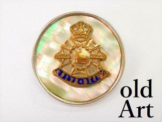 英国製アンティーク1910年代WW1当時物イギリス陸軍アールデコ銀製マザーオブパールブローチ【M-11200】
