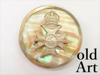 英国製アンティーク1910年代WW1当時物イギリス陸軍アールデコ銀製マザーオブパールブローチ【M-11201】