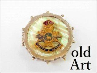 英国製アンティーク1910年代WW1当時物イギリス陸軍アールデコ銀製マザーオブパールブローチ【M-11202】