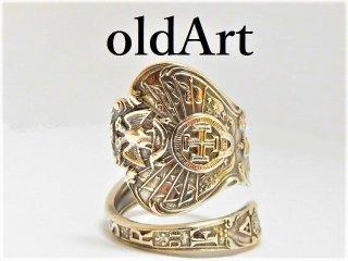 アンティーク1900年代フリーメイソン双頭鷲スコティッシュライトシルバー製スプーンリング指輪15号【M-11265】