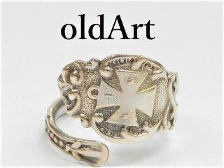 アンティーク1900年代初頭フリーメイソンテンプル騎士団シルバー銀製スプーンリング指輪15号【M-11271】