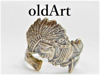 アンティークヴィンテージインディアン繊細彫刻シルバー製スプーンリング指輪17号【M-11274】