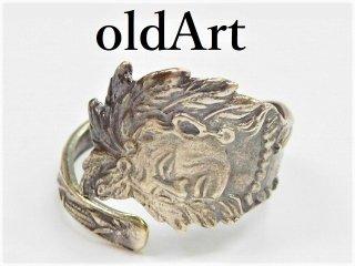 アンティークヴィンテージインディアン繊細彫刻シルバー製スプーンリング指輪15号【M-11275】
