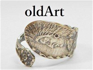 アンティークヴィンテージインディアン繊細彫刻シルバー製スプーンリング指輪16号【M-11276】