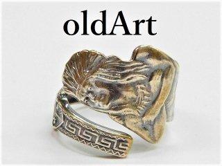 アンティークヴィンテージインディアン繊細彫刻シルバー製スプーンリング指輪17号【M-11277】