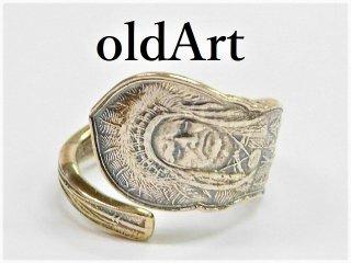 アンティークヴィンテージインディアン繊細彫刻シルバー製スプーンリング指輪14.5号【M-11278】