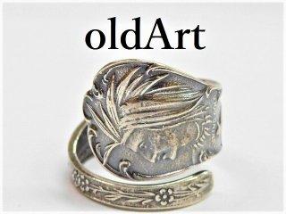 アンティークネイティブアメリカン彫刻シルバー銀製インディアンスプーンリング指輪15号【M-11279】