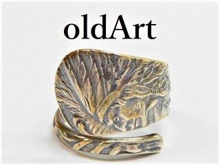 アンティークネイティブアメリカン彫刻シルバー銀製インディアンスプーンリング指輪16号【M-11280】