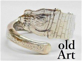 アンティーククリスマスサンタクロースシルバー銀製スプーンリング指輪15.5号【M-11282】