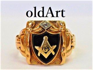 入手困難ビンテージ1930年代フリーメイソン本物10金無垢オニキスダイヤモンド男性メンズリング指輪21.5号K10ゴールド【M-11288】