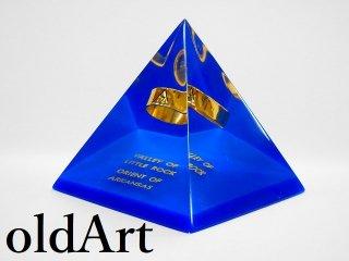 ヴィンテージフリーメイソン14階級ピラミッド型ペーパーウェイト置物オブジェ【M-11296】