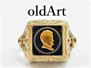入手困難アンティーク1930'sエイブラハム・リンカーン合衆国大統領OSTBY&BARTON社製本物の10金無垢レディースリング指輪10.5号10Kゴールド【M-11319】