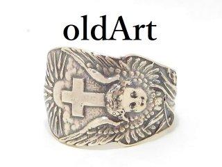 アンティーク天使エンジェル十字架シルバー製スプーンリング指輪16号【M-11325】