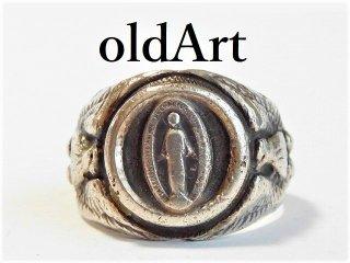 1940年代WW2当時物ビンテージ聖母マリアUS.ARMYシルバー製メンズミリタリーリング指輪22号キリスト【M-10335】