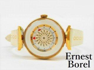 OH済 ERNEST BORELアーネストボレル17石手巻き1950-70年代裏スケルトン万華鏡文字盤レディースアンティーク腕時計【M-11342】