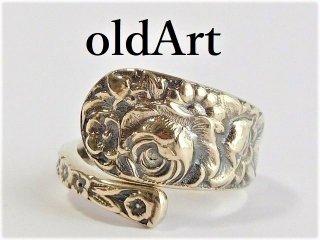 アンティーク1900-30年代Flower薔薇シルバー銀製スプーンリング指輪12号【M-11440】