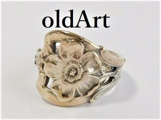 アンティーク1900年代初頭Flower花シルバー銀製スプーンリング指輪15.5号【M-11491】