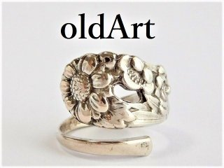 ヴィンテージ1940年代Flower花シルバー950銀製スプーンリング指輪15号【M-11493】