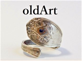 アンティークフリーメイソン逆五芒星コンパスシルバー製10金無垢装飾スプーンリング指輪15号【M-11522】